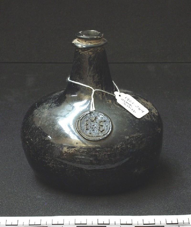 Glass 'onion' bottle with stamp (I.E.V)