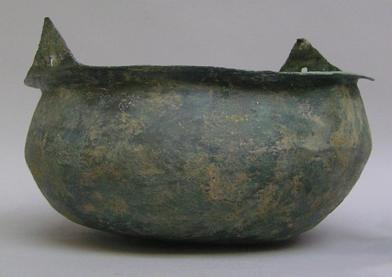 Bronze bowl with rim incorporating holes for hanging (AN1961.170, record shot)