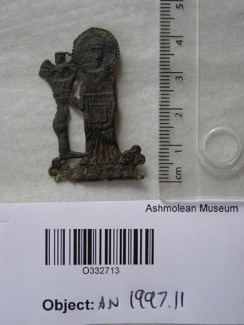 Pilgrim badge depicting John Schorne holding a boot