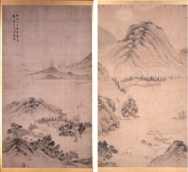 Two-fold screen with Chinese landscape (EA1969.13, EA1969.0013 Re-sized amalgam for record, record shot)