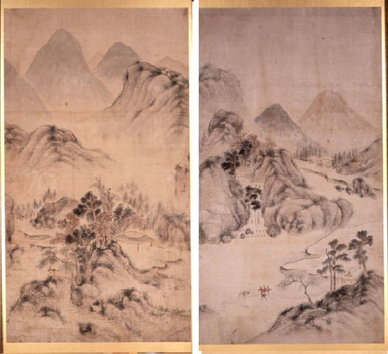 Two-fold screen with Chinese landscape (EA1969.14, ST - Re-sized amalgam for record, record shot)