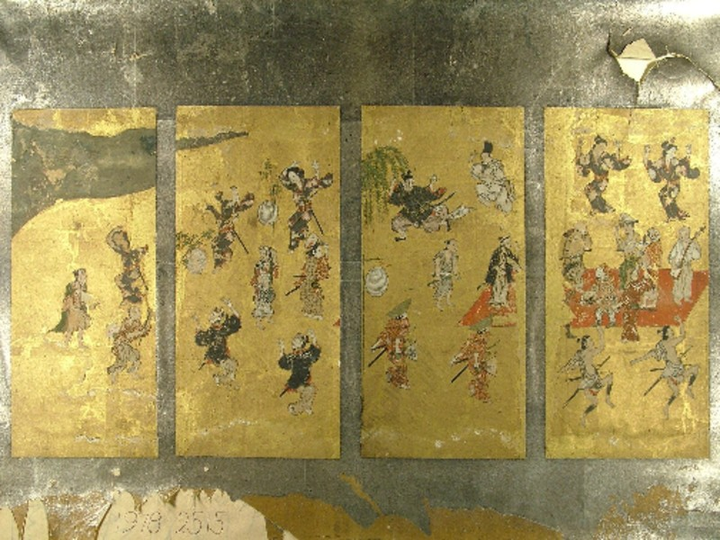 Four panels from a miniature screen with dancers and musicians