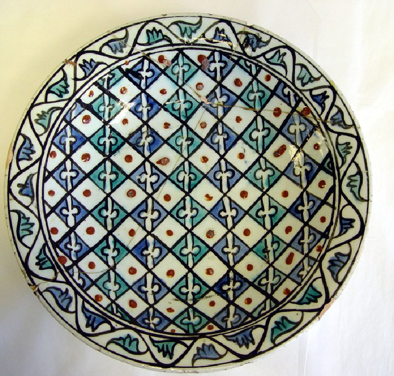 Dish with checkered pattern