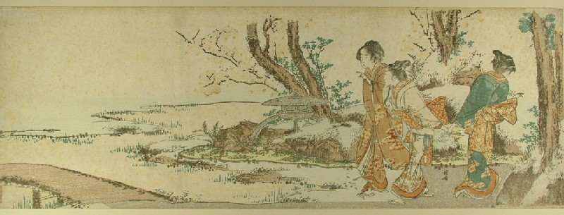Three women approach a bridge near a stone lantern beneath blossoming cherry trees (EAX.4679, record shot)