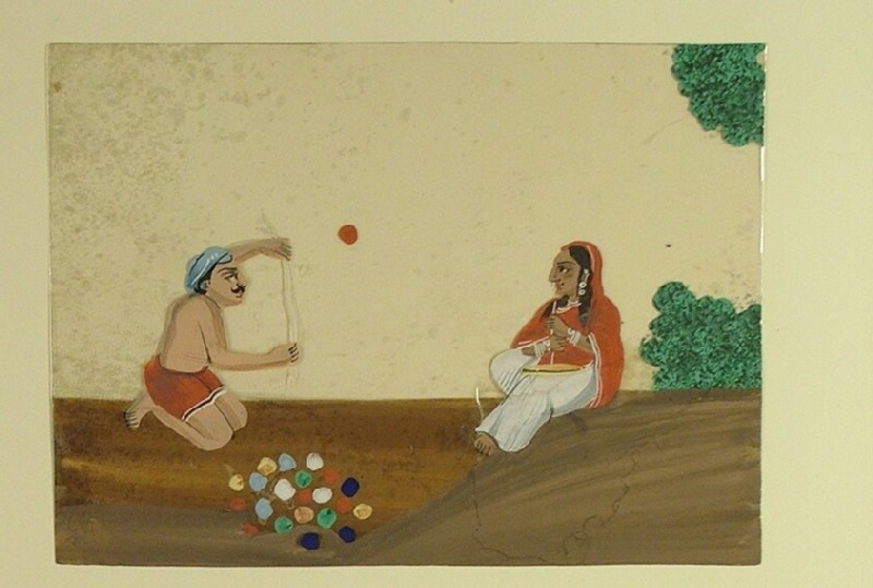Portrait of street performers juggling with colourful balls (EA1968.41.x, record shot)