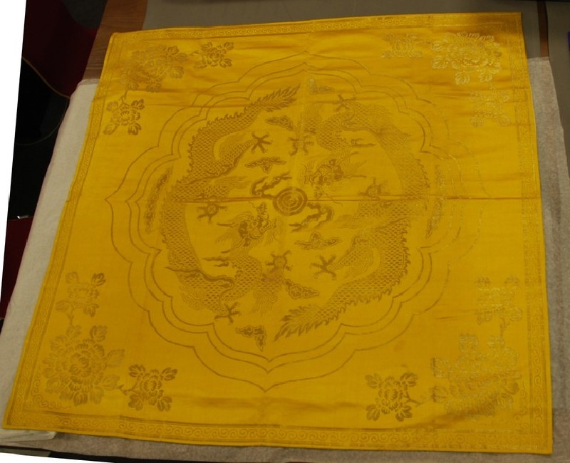 Book wrapper with dragon and flowers (EA1999.18, record shot)