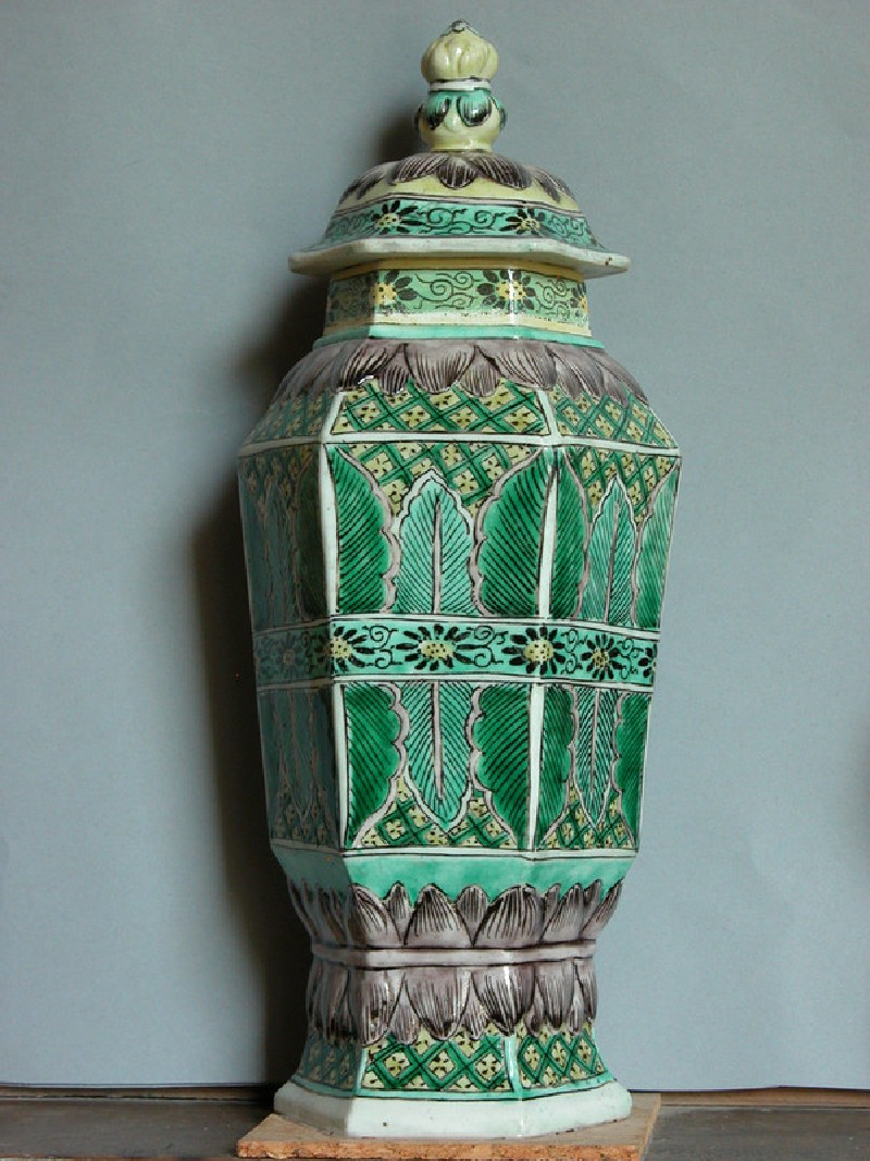 Hexagonal vase and cover (EAX.1497, Title: <<Acc. No. as Title>>, record shot)