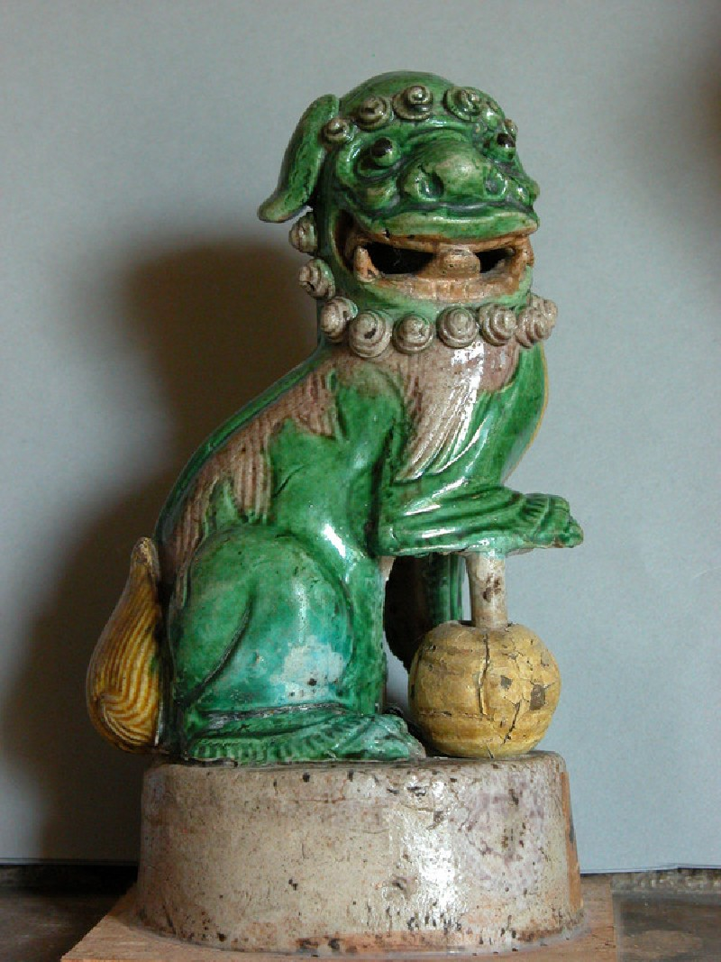 Seated shishi, or lion dog, with ball (EAX.3575, record shot)