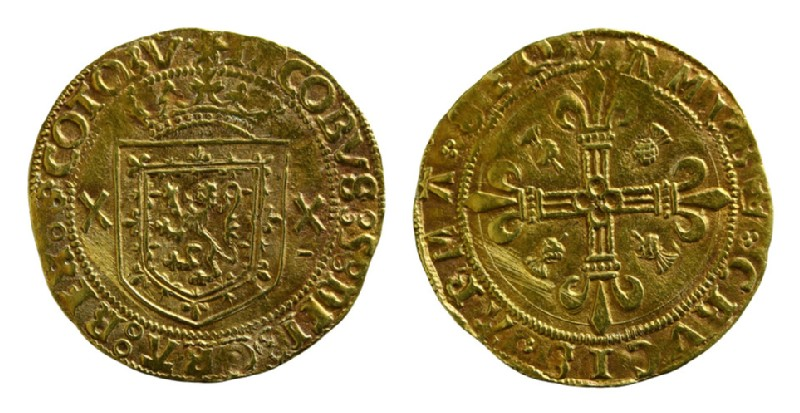 Scottish gold coin of James V (HCR8151, record shot)