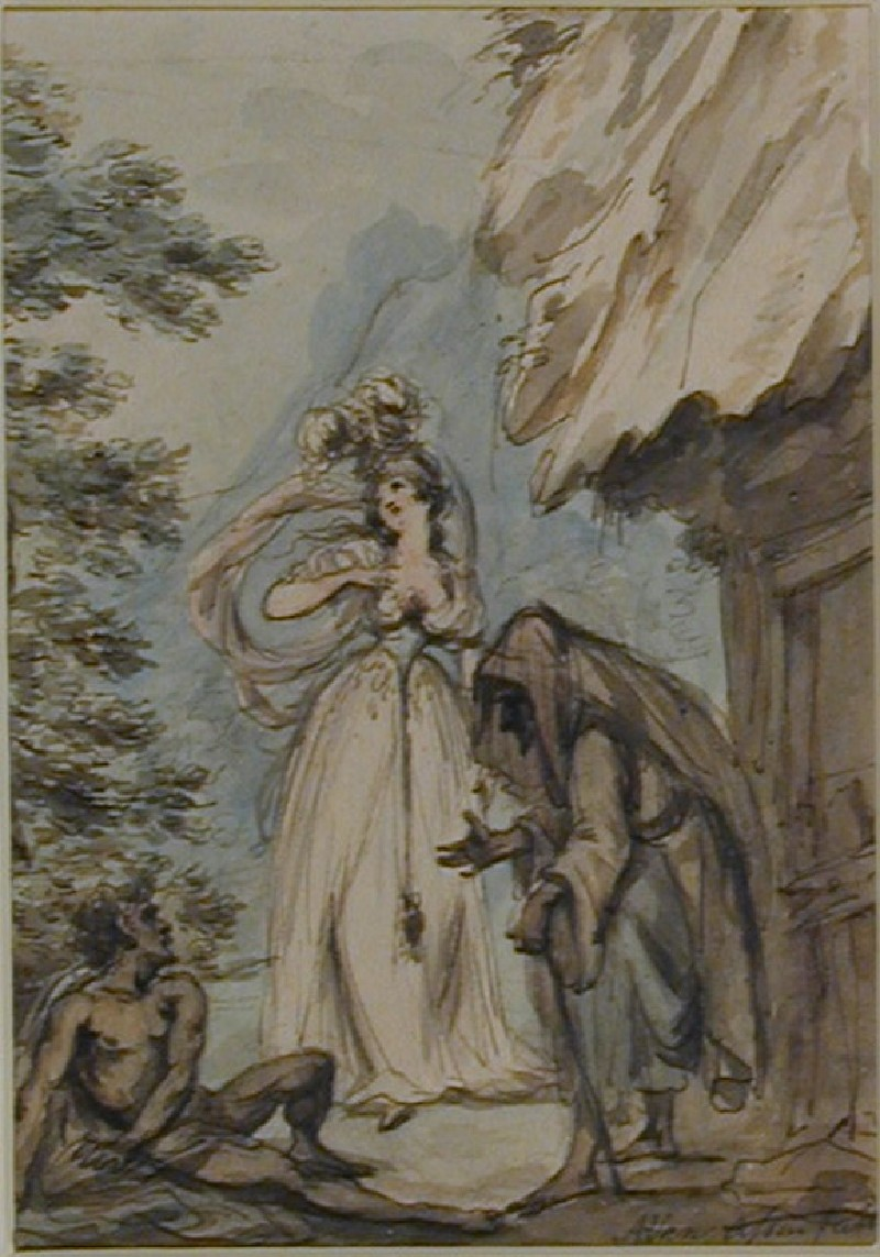 Young Maiden, old Crone and a nude Man beside a Cottage