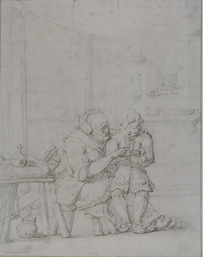 Cottage Interior with an old Woman teaching a Boy