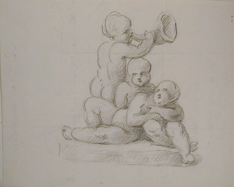 Recto: sketch of three cupids<br />Verso: letter from Downman to Nollekens dated September 15 1801