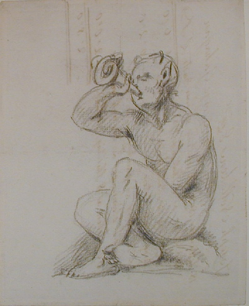 Recto: sketch of a Pan-like figure blowing a horn<br />Verso: account from Nollekens to George Gahagan dated September 18 1802