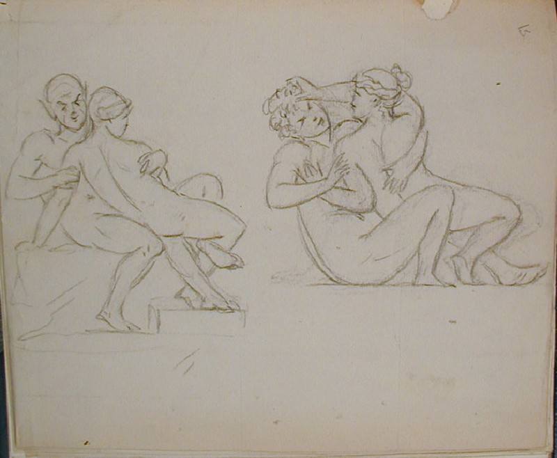 Recto: two sketches of reclining couples embracing<br />Verso: letter to Nollekens from Martin Archer Shee dated April 20 1804