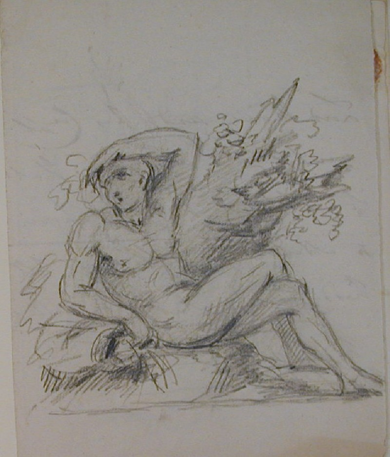 Recto: reclining male nude<br />Verso: fragment of a letter to Nollekens from Lord M dated Friday 7 May