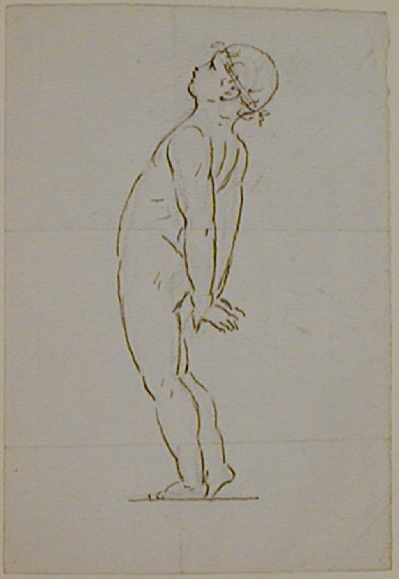 Recto: sketch of a nude boy leaning backwards<br />Verso: fragment of a letter to Nollekens referring to casts of the busts of Pitt and Mrs Fox