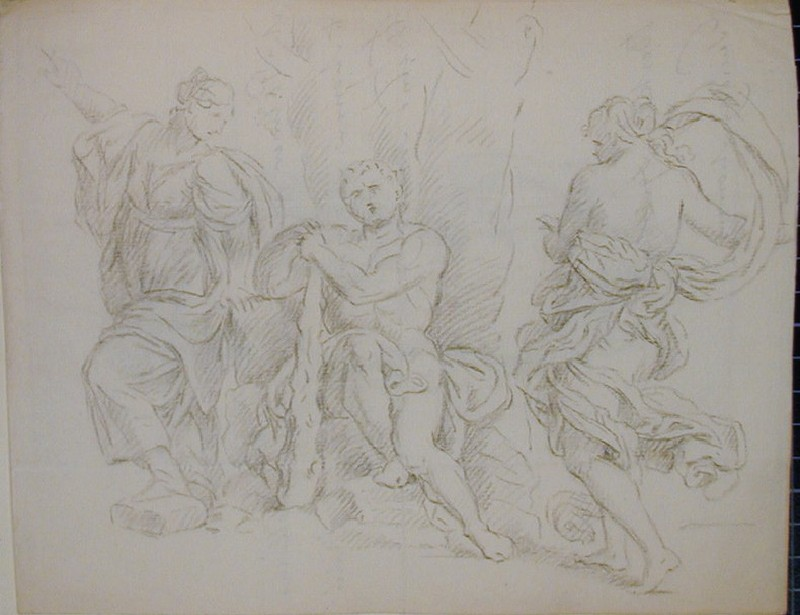 Recto: group of antique figures resting by a tree (The Choice of Hercules)<br />Verso: letter to Nollekens concerning a visit from Mr Palmer and Mr Digby, with a drawing of two masks (WA1863.1143, record shot)