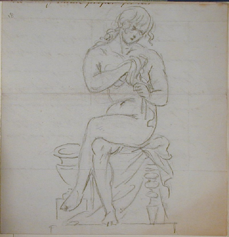 Recto: seated female nude drying herself<br />Verso: fragment of a letter to Nollekens, mentioning payment by Mr Brooke (WA1863.1151, record shot)