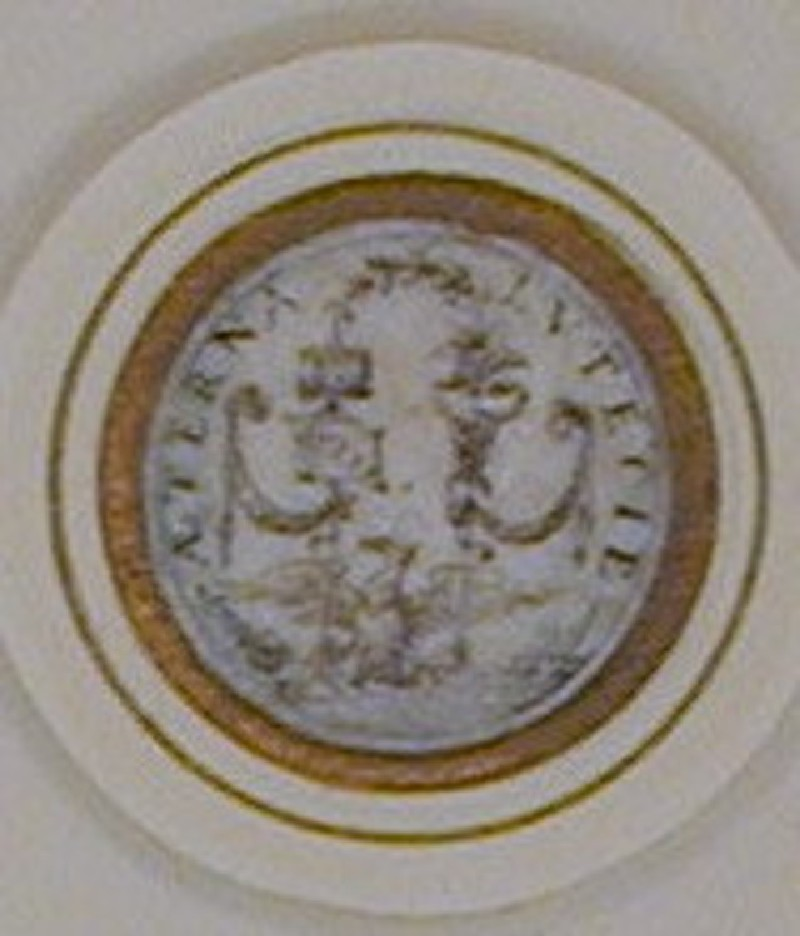 Design for a jetton for the Paris City Council: A roundel enclosing an eagle which holds two standards, one with a castle and a banner, the other with entwined snakes