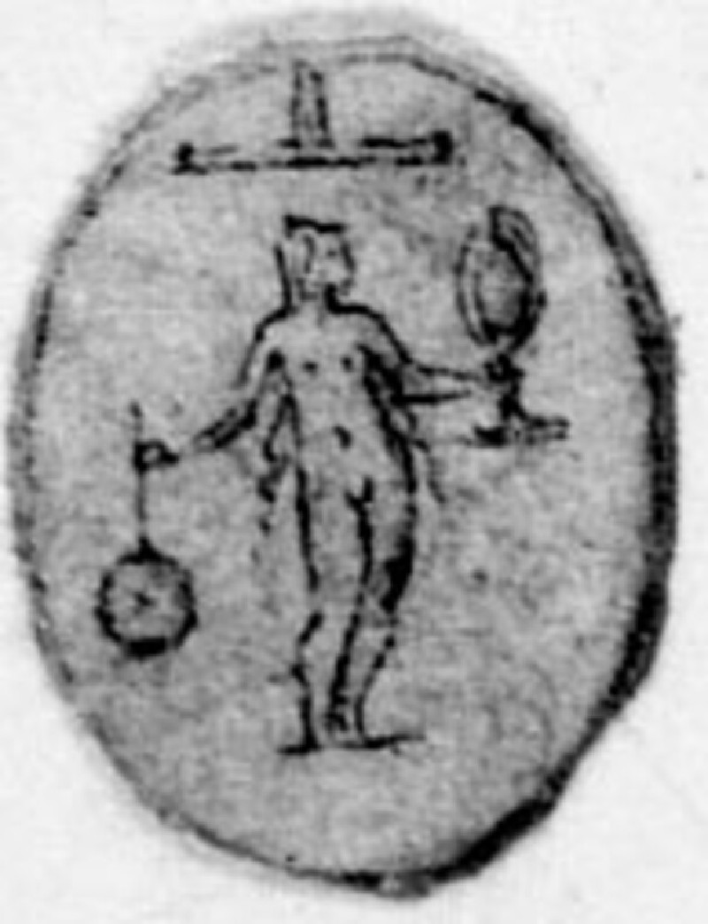 A small oval with a figure: A small oval depicting a nude woman beneath an inverted letter T with a circle suspended from her right hand and a vase in her left (WA1863.133.454, record shot)