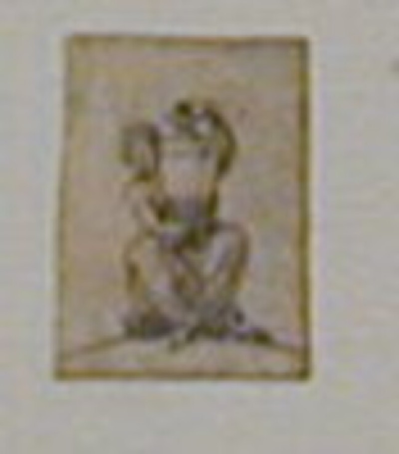Design for a finial: A woman seated facing forward, holding a tall vase on her lap (WA1863.133.476, record shot)