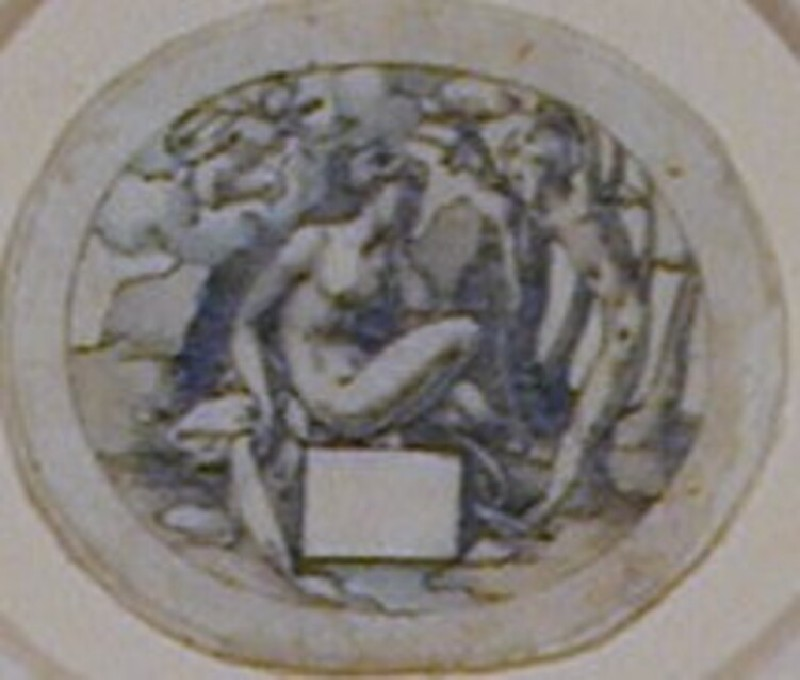 Study for a print: An oval enclosing a nude woman in a rocky landscape