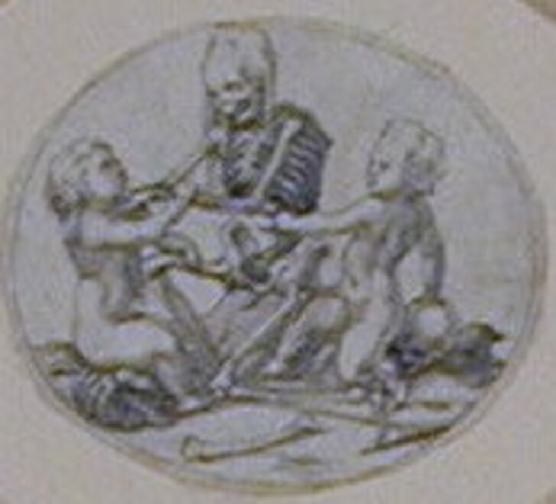 An oval composition: A horizontal oval depicting two nude children with a skeleton