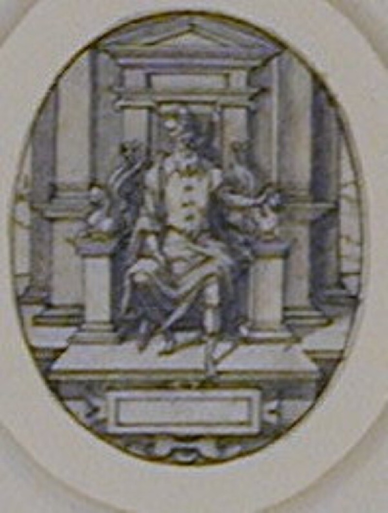 Oval compositiondepicting a bearded monarch seated on a pedimented throne with arm rests formed from winged lions