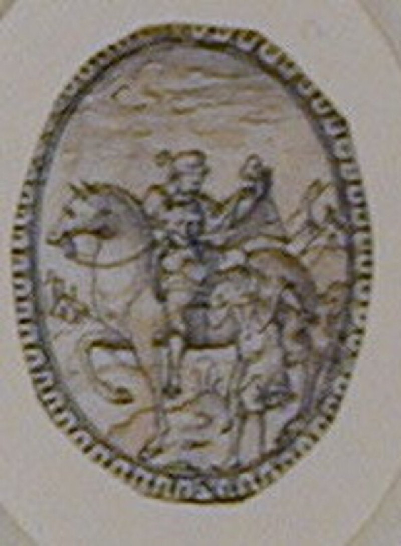 An oval composition: An oval ornament enclosing St Martin on horseback with a beggar on foot