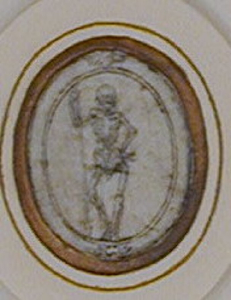 An oval composition: An oval frame enclosing a skeleton leaning on a staff