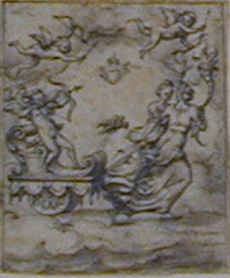 An allegorical composition: Cupid, blindfolded, standing on a chariot drawn by two female figures, ready to shoot his arrow into the sky