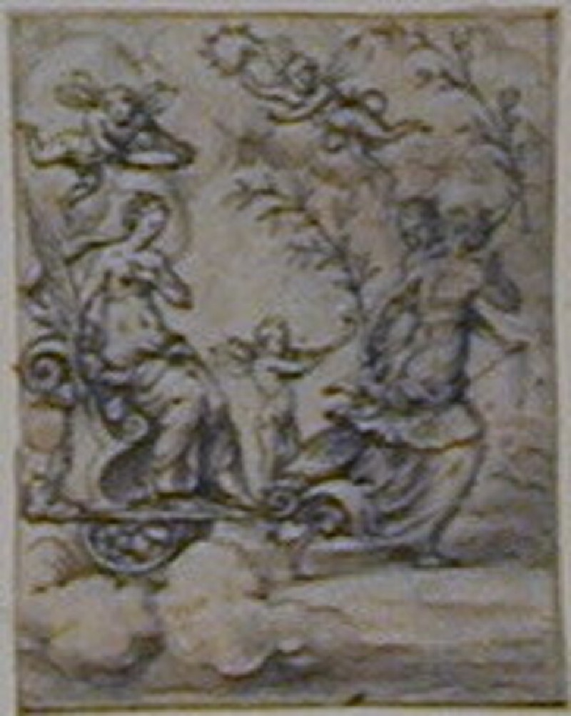 An allegorical composition: A woman seated on a chariot behind a winged Cupid