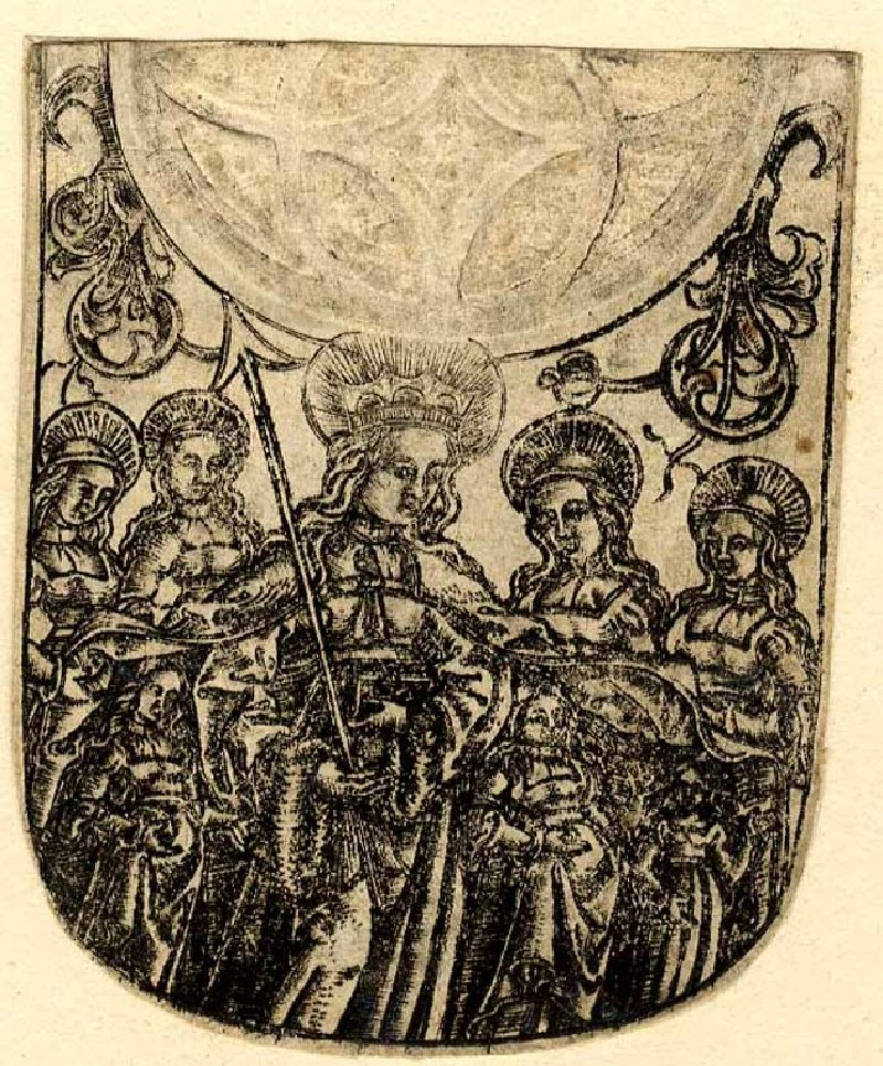 St Ursula surrounded by female saints (WA1863.1603, record shot)