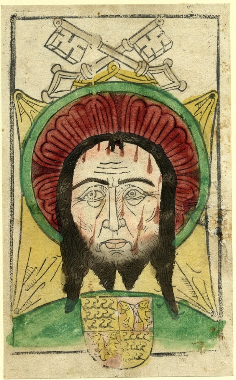 The Head of Christ on the Vernicle, with crossed keys and the Arms of Wuerttemberg and Moempelgard