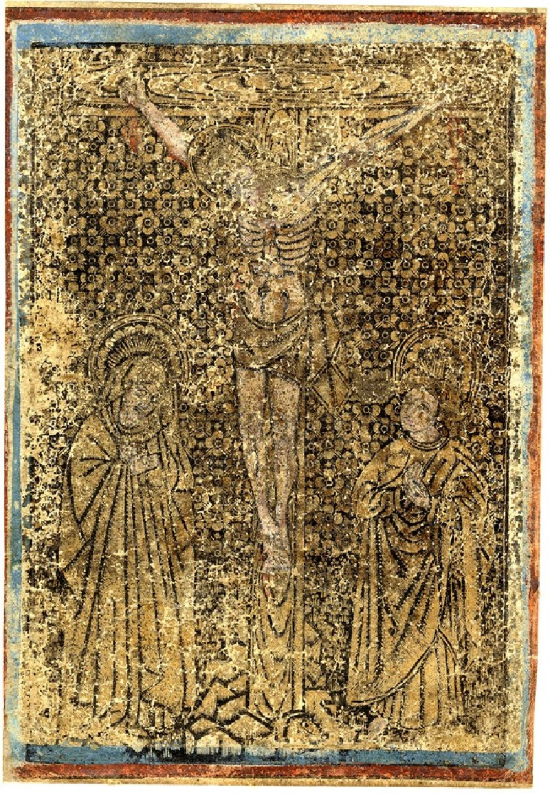 Christ on the cross, flanked by the Virgin and Saint John (WA1863.1941, record shot)