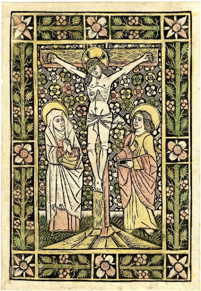 Christ on the cross, with the Virgin and St John in front of a decorated background, the borders with straight flowers (WA1863.1942, record shot)