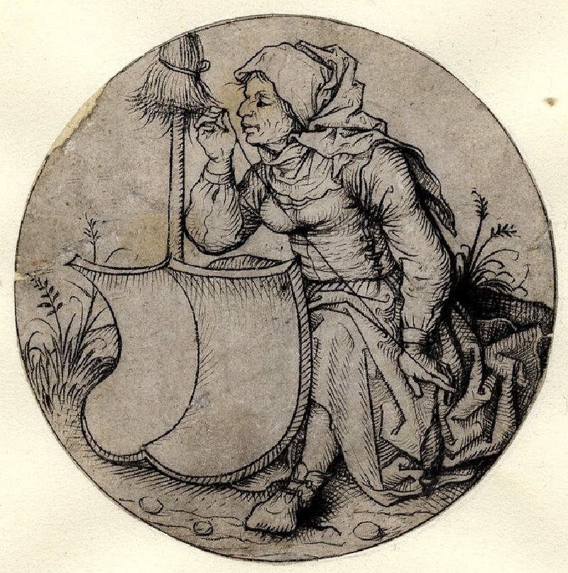 The farmer's wife spinning with the empty shield