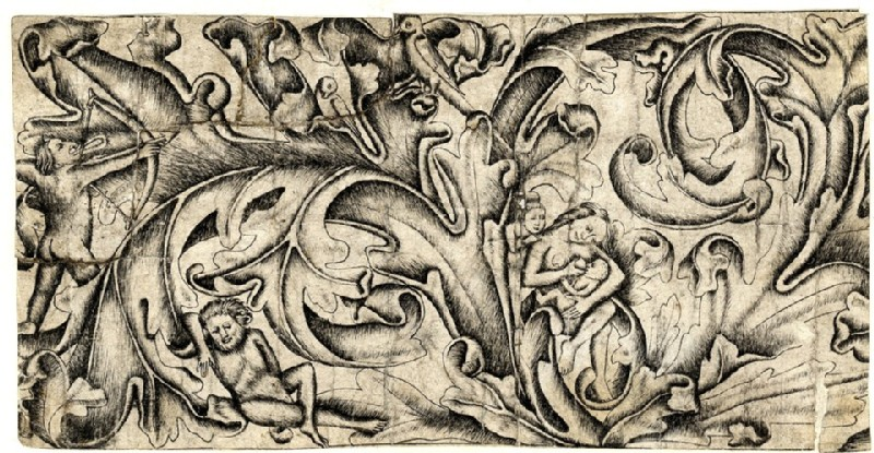 Ornament of leaves with wild men and birds