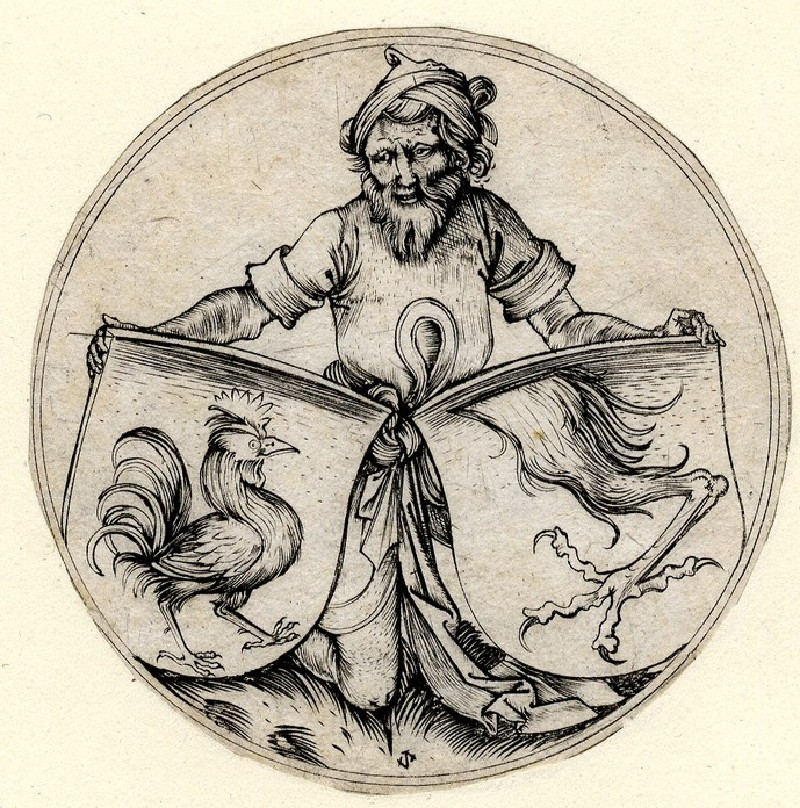 Two shields inclined in alliance, the one at right with a griffin's leg cut off at the thigh, the one on the left with a strutting cockerel, both supported by a kneeling man wearing a turban