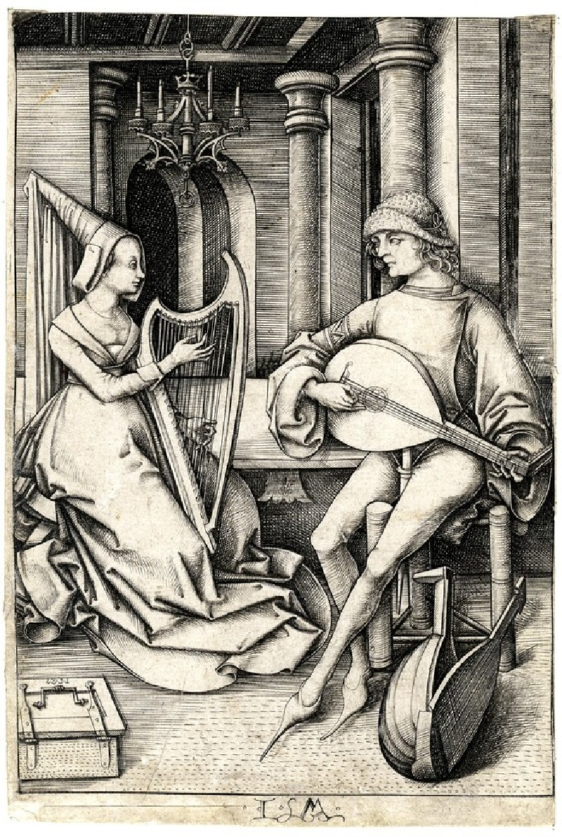 The lute player and the harpist (WA1863.2080, record shot)