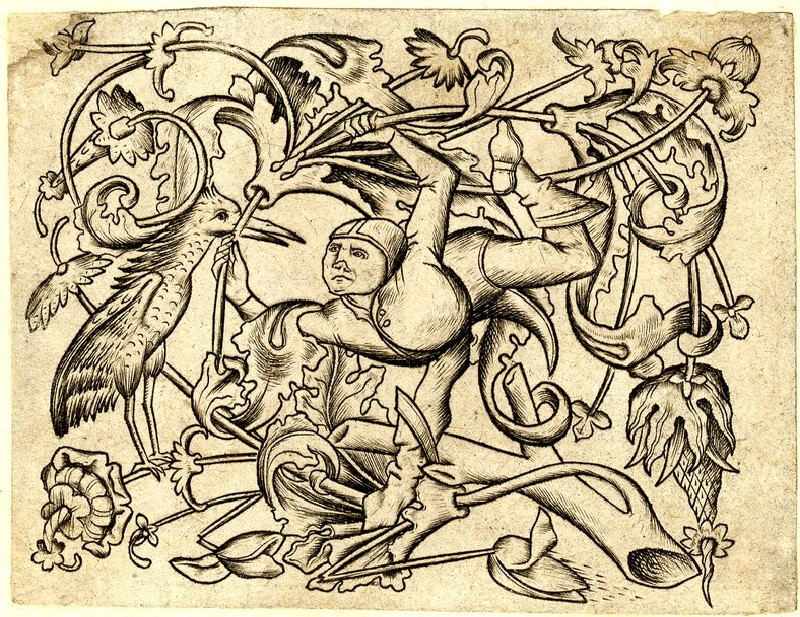 Ornamental engraving with a jester, bird and flowers, copy in reverse