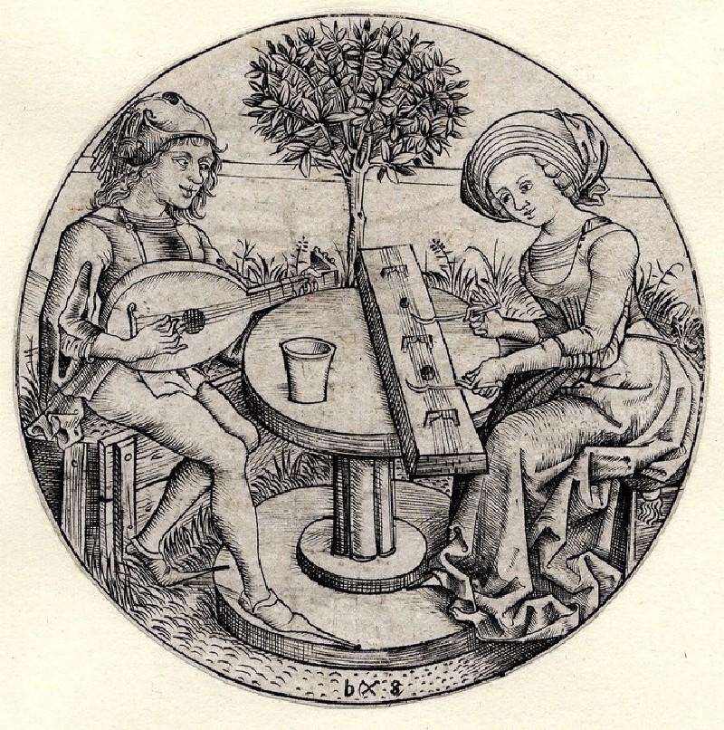 Couple making music in a garden (WA1863.2115, record shot)