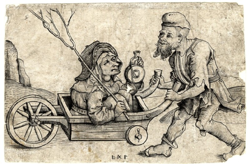 The beggar driving his wife in a wheelbarrow