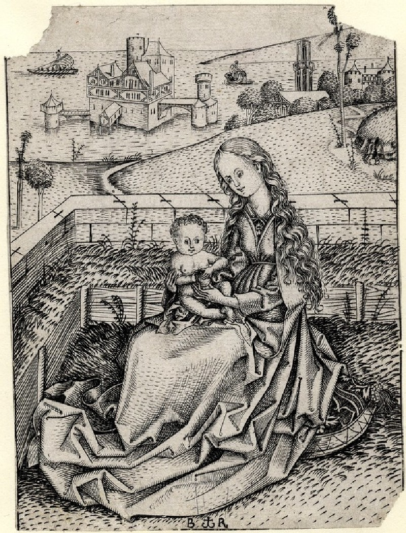 The Virgin and Child in an enclosed garden with an apple