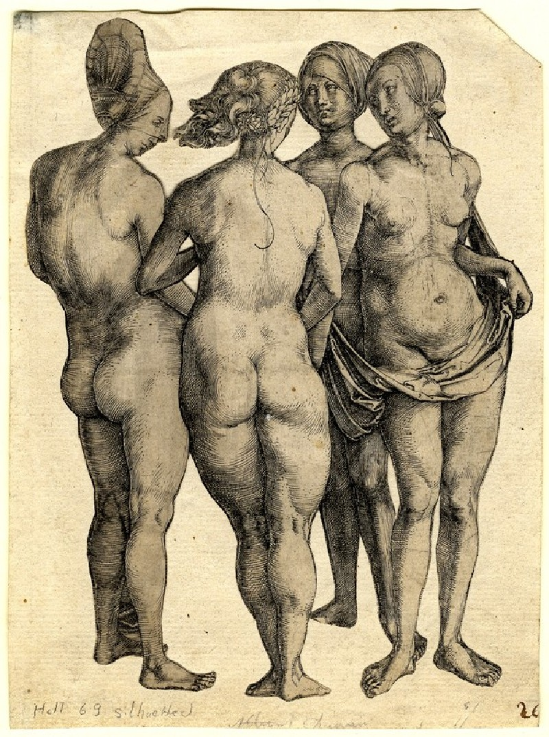 Four naked women, silhouetted
