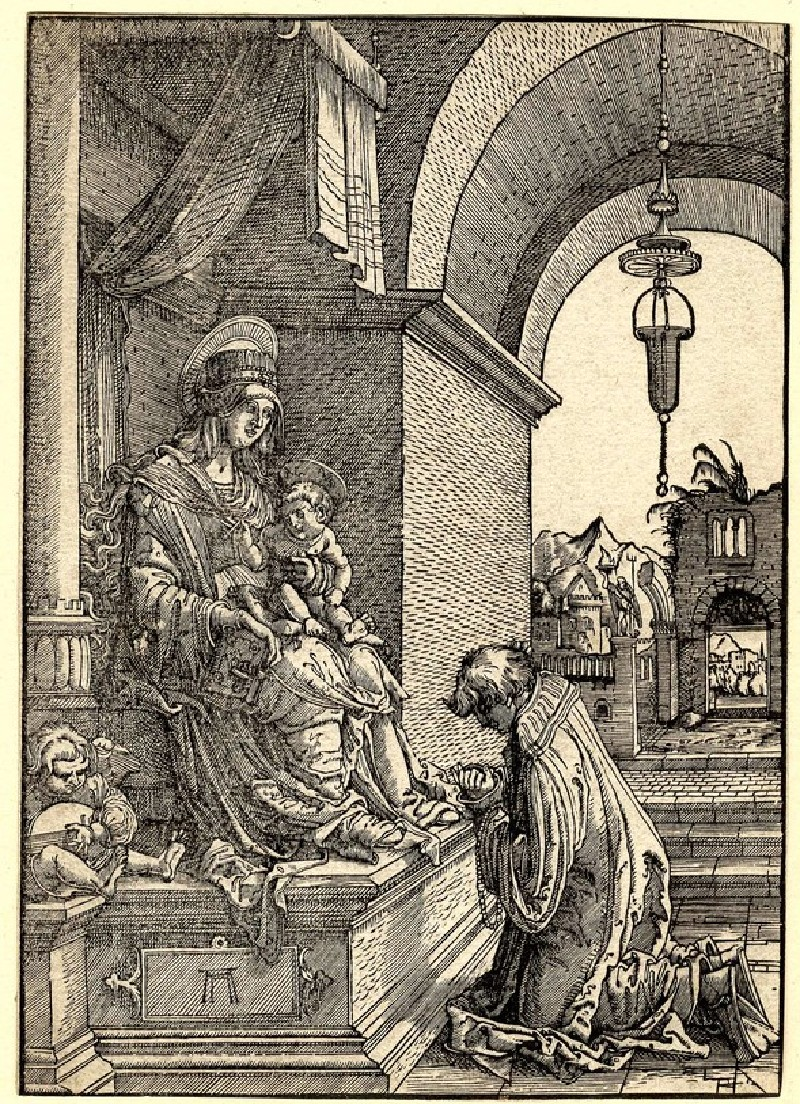 A Cleric kneeling before the Virgin and Child