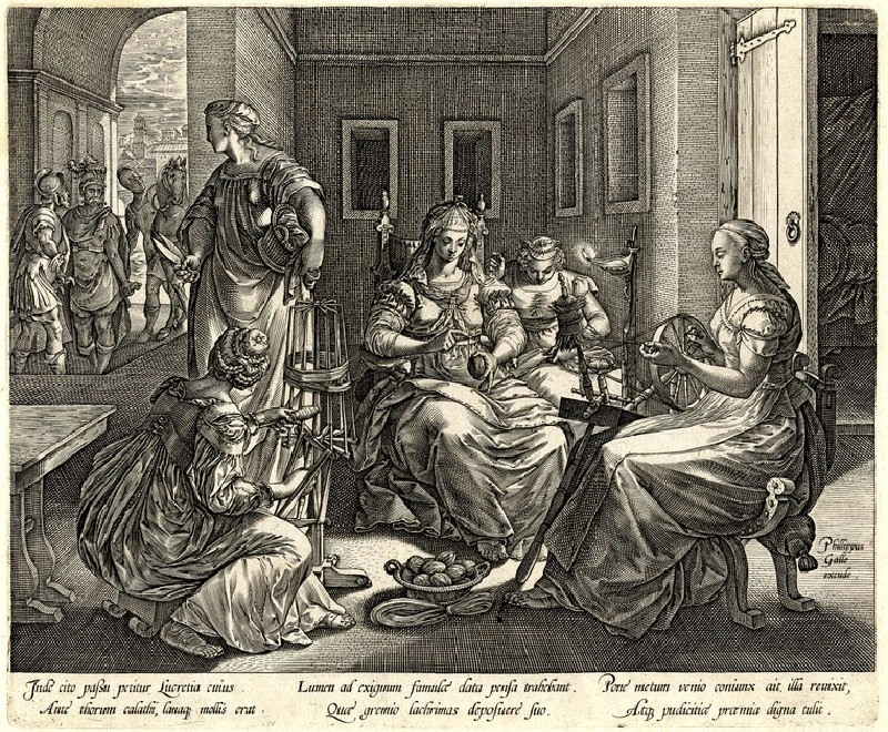 Lucretia and her women spinning