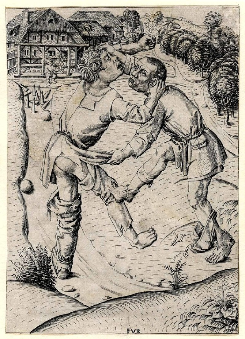 Two peasants quarrelling over a game of skittles