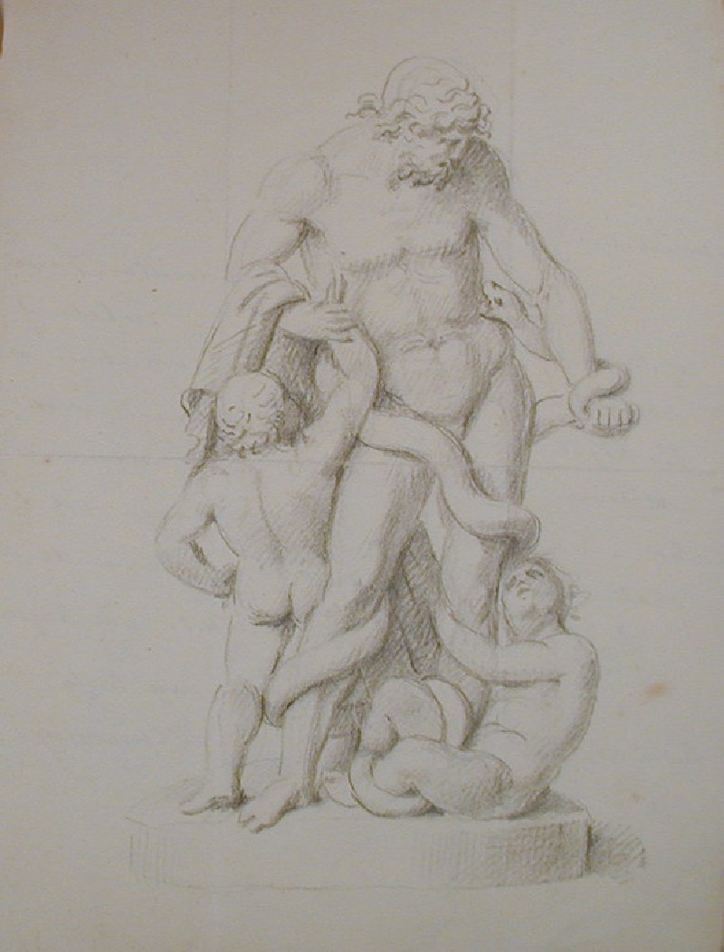 Recto: studies of a Laocoon group<br />Verso: letter to Nollekens from Chinnery, dated December 5 1803