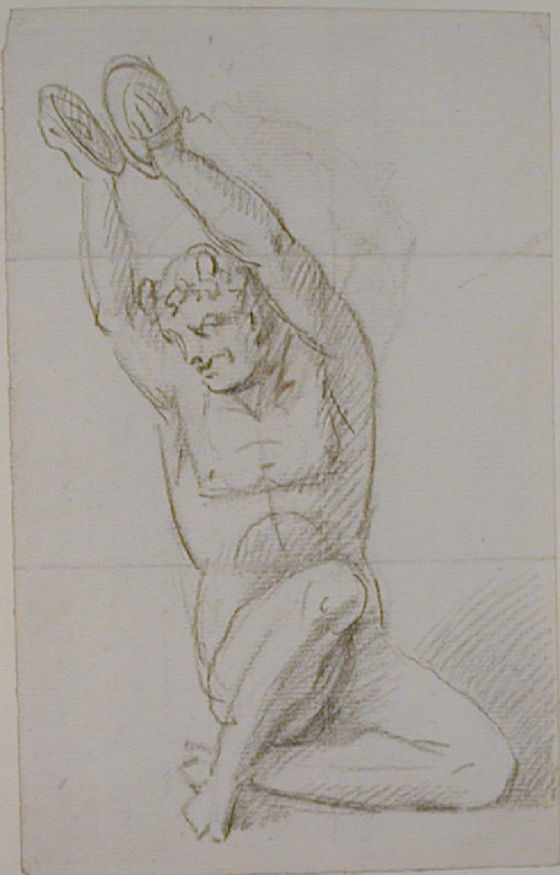 Recto: nude figure holding cymbals above his head<br />Verso: fragment of an undated letter to Nollekens from Mr Portman